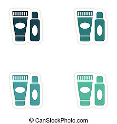 concept stylish paper sticker on white background shaving...