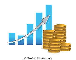 concept-, succès financier, graphique