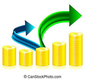 concept, succès financier, illustration
