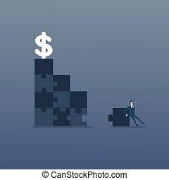 concept, succes, zakelijk, geld, raadsel, dollar, oplossing, strategie, oplossen, vervaardiging, trap, man
