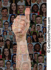 Concept success thumbs up sign with group of people