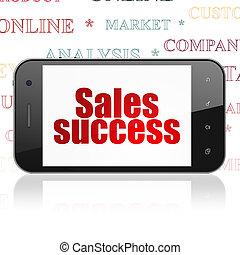 concept:, sucesso, exposição, smartphone, marketing, vendas