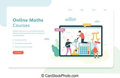 concept., sujet, toile, bannière, école, math, ligne, cours