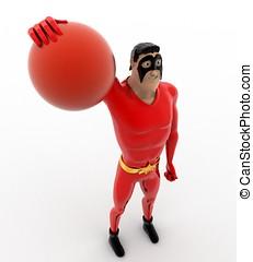 concept, superhero, voleyball, frapper, balle, 3d