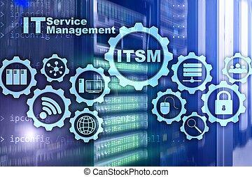 concept, superordinateur, management., il, itsm., technologie, arrière-plan., gestion, information, service