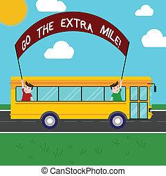 concept, supplémentaire, texte, sortir, trip., additionnel, donner, deux, mile., jour, tenue, expected, vous, plus, autobus, signification, crosse, bannière, que, gosses école, intérieur, écriture