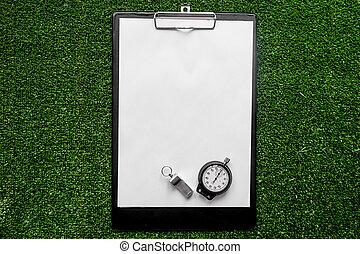 concept, surmontez, arbitrer, arrière-plan vert, sport, railler, vue