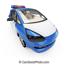 concept, surveiller voiture, isolé, avenir, vue