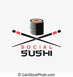 concept, sushi, vecteur, conception, gabarit, social