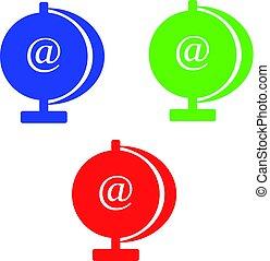 concept-, @symbol, 隔離された, 背景, インターネット, 白