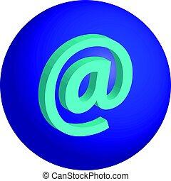 concept-, @symbol, vrijstaand, achtergrond, internet, witte