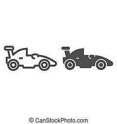 concept, symbole, course auto, arrière-plan., pictogramme, sport, mobile, voiture, signe, blanc, icon., vecteur, sports, toile, formule, graphics., véhicule, style, auto, ligne, solide, course, design., contour