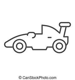 concept, symbole, course auto, arrière-plan., pictogramme, sport, mobile, voiture, signe, blanc, mince, icon., vecteur, sports, toile, formule, graphics., véhicule, style, auto, ligne, course, design., contour
