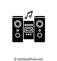 concept, systeem, vrijstaand, illustratie, meldingsbord, achtergrond., vector, black , pictogram, symbool, audio