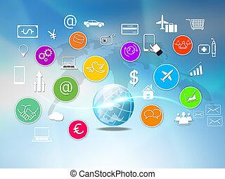 concept., társadalmi, hálózat, média