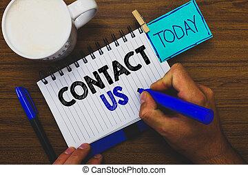 concept, télécommunications, texte, rendre, par, marqueur, table, groupe, service, tasse, écriture, tenue, rappel, business, pince, costumer, cahier, homme, mot, coffee., bois, us., personne, contact
