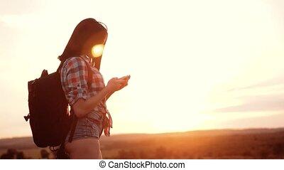 concept, téléphone, femme, droit, femme, girl, trouver,...
