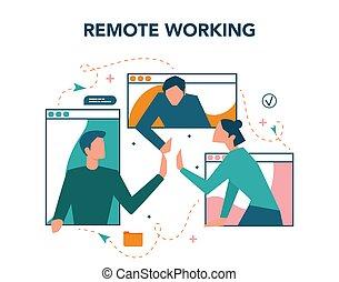 concept., télétravail, global, fonctionnement, outsourcing, éloigné