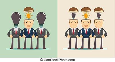 concept, têtes, foule, lumière, businesspeople, arrière-plan., direction, ampoule, ouvert