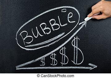 concept, tableau noir, dollar, diagramme, dessiné, bulle