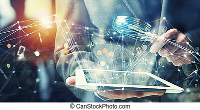 concept, tablet., toegang, achterdeur, zakenman, internet, stichten, veiligheid
