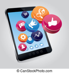 concept, tablet, touchscree, media, pc, sociaal