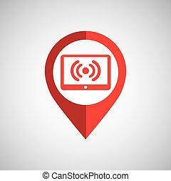 concept, tablette, épingle, wifi, sans fil, icône