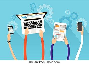 concept, tablette, gadget, long, téléphone, mains, appareil...