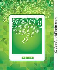concept, tablette, icônes, média, pc, vecteur, social