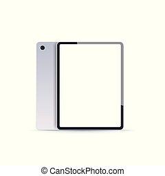 concept, tablette, mockup, gadget, vide, réaliste, pc, fond, numérique, blanc, technologie, écran, vide