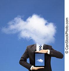 concept, tablette, pensée, pc, tenue, homme affaires, nuage