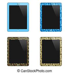 concept, tablette, réaliste, isolé, illustration, screen., pc, men., vecteur, arrière-plan., vide, vertical., blanc, garçons