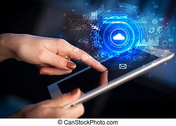 concept, tablette, système, possession main, nuage