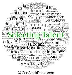 concept, talent, choix, étiquette, mot, nuage
