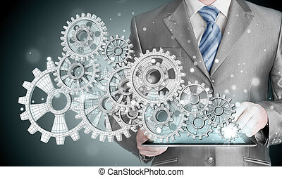 concept, tandwiel, succes, hand, beroeren, zakenman