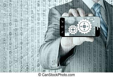 concept, tandwiel, succes, tonen, smartphone, zakenman