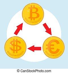 concept, taux, échange, icône