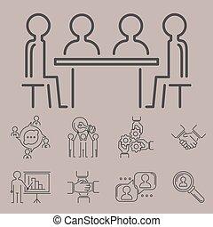 concept, teambuilding, contour, icones affaires, travail, commande, illustration, vecteur, collaboration, mince, humain, gestion, ligne, ressources