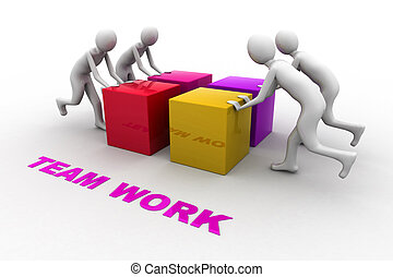 concept., teamwork., illustration, 3d