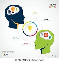concept., teamwork., infographic, ビジネス