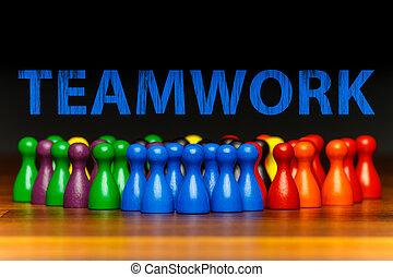 Concept teamwork, organization, group multi color text -...