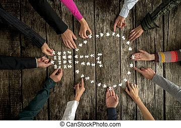 concept, teamwork, samenwerking