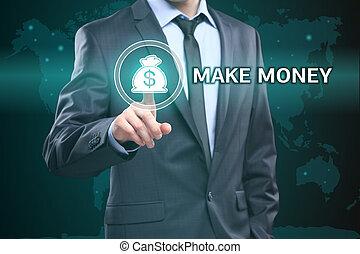 concept, technologie, argent, faire, -, virtuel, business, écrans, urgent, internet, homme affaires, bouton