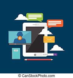 concept, technologie, illustration.