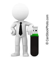concept., technologie, isolé, business