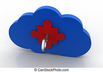 concept, technologie, nuage