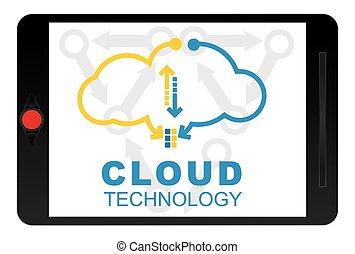 concept., technologie, wolke