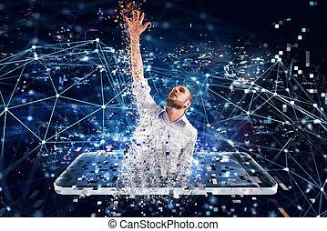 concept, technology., internet, homme affaires, dépendance, capturé