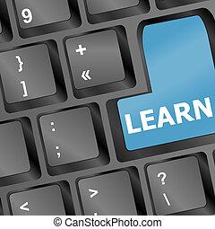 concept., teclado, vector, llave, internet, educación, learn.