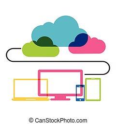 concept., tecnologia, nuvola, calcolare